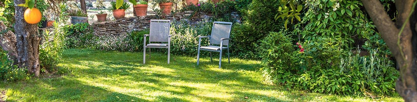Jardin avec deux chaises